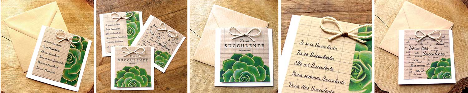 Collection cartes de voeux artisanales Echeveria
